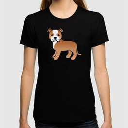 Red And White English Staffordshire Bull Terrier Cartoon Dog T-shirt
