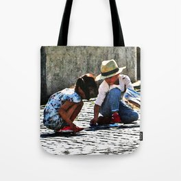 Children Playing Watercolor Tote Bag