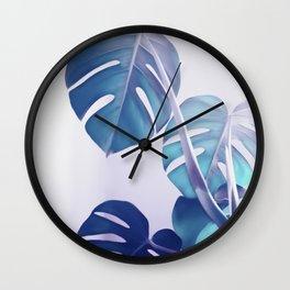 Blue Shadows Monstera Leaves Wall Clock
