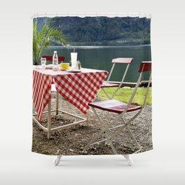 Summer at Hallstatt Lake Shower Curtain