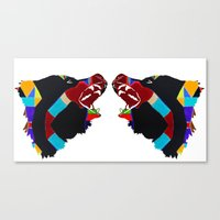 bears Canvas Prints featuring bears  by Retro Made