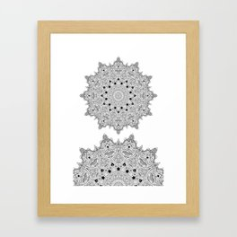 Stars and Stripes - Patriotic Mandala - Black and White - 'Merica! Framed Art Print