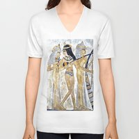 egyptian V-neck T-shirts featuring Egyptian Musicians by Brian Raggatt