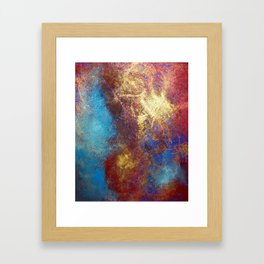 Red, Blue And Gold Modern Abstract Art Painting Framed Art Print