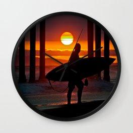 Huntington Beach Pier / Surfer Sunset Wall Clock