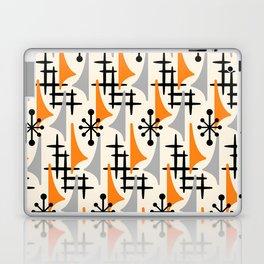 Mid Century Modern Atomic Wing Composition Orange & Gray Laptop & iPad Skin