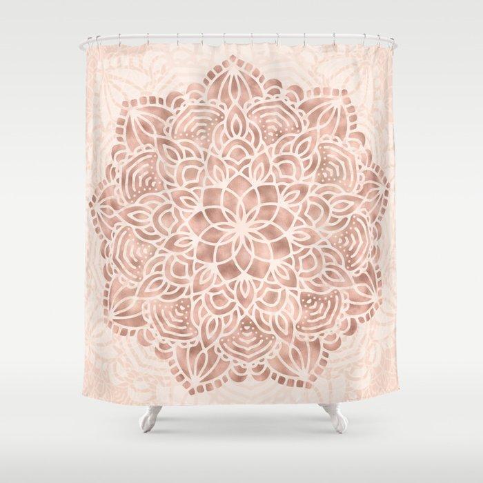 Mandala Seashell Rose Gold Coral Pink Shower Curtain