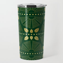 Emerald Art Deco Fan Travel Mug