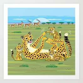 Cheetahs and Gazelles Art Print