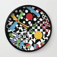 tape Wall Clocks featuring Ticker Tape by Patricia Shea Designs