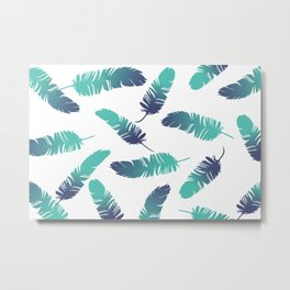 Feathers blue turquoise white Metal Print