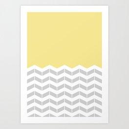 Grey, White & Yellow Half Chevron Art Print