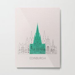 Edinburgh Landmarks Poster Metal Print