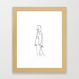 One line woman walking Framed Art Print