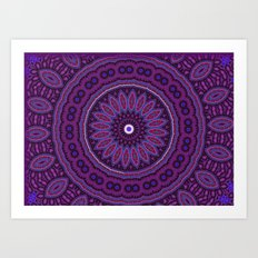 Lovely Healing Mandalas in Brilliant Colors: Purple, Raspberry, Grape, Wine, and White Art Print
