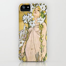 Alphonse Mucha - Le Lys / Lily (1897) iPhone Case
