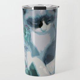 Nestled Kitten in Comforter Cloud Travel Mug