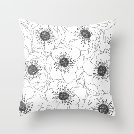 White Anemones Throw Pillow