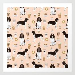 English Springer Spaniel coffee lover dog breed pet portraits custom dog gifts Art Print
