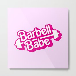 Barbell Babe Doll Logo Metal Print