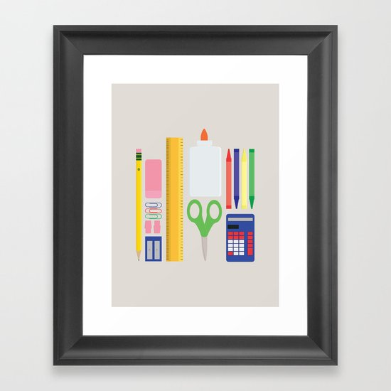 School House Colored Framed Art Print