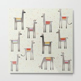 Llamas in the Meadow Metal Print