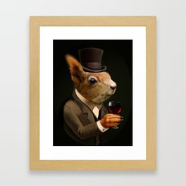 Sophisticated Pet -- Sqirrel in Top Hat with glass of wine Framed Art Print