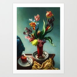 American Masterpiece 'Still Life with Spring Flowers' by Thomas Hart Benton Art Print