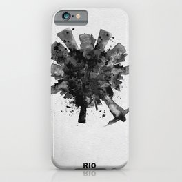 Rio de Janeiro, Brazil Black and White Skyround / Skyline Watercolor Painting iPhone Case