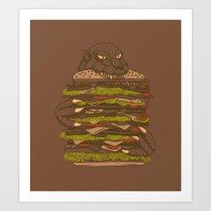 Godzilla vs Hamburger Art Print