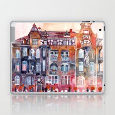 Apartment House in Poznan and orange umbrellas Laptop & iPad Skin