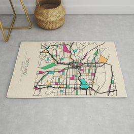 Colorful City Maps: Portland, Oregon Rug