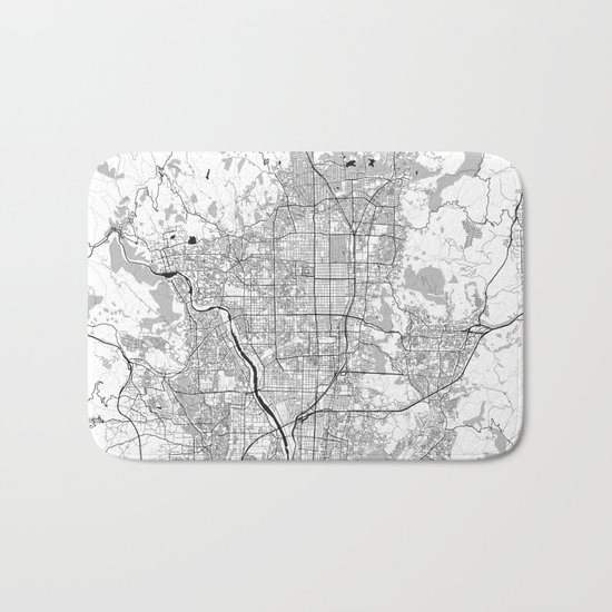 Kyoto Map Gray Bath Mat