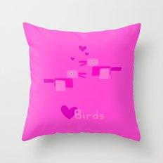 Love Birds-Pink Throw Pillow