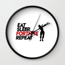 Eat Sleep Fortnite Repeat Wall Clock