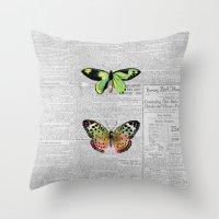 newspaper Throw Pillows featuring Newspaper and Butterflies by Juliana Zimmermann