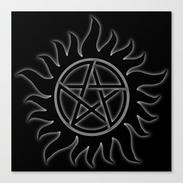 Anti Possession Sigil White Glow Canvas Print
