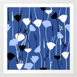 Blue night flowers Art Print