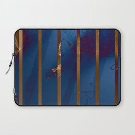 Electric Blue Abstract with Gold Stripes Laptop Sleeve