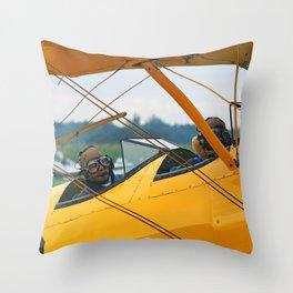 Oldtimer yellow plane Throw Pillow