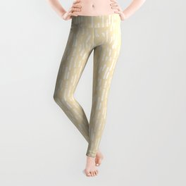 White on Pale Neutral Yellow | Large Scale Inky Rounded Lines Pattern Leggings