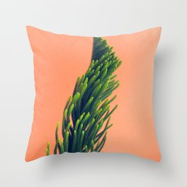 Complementary Colors Green Salmon Pink Against Background Throw Pillow