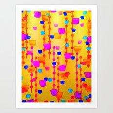 POLKA DOT MATRIX - Bright Bold Cheerful Dotty Geometric Squares Circles Abstract Watercolor Painting Art Print
