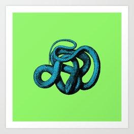Snek 1 Snake Teal Turquoise Lime Green Art Print