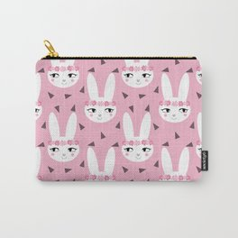 Bunny baby girl rabbit illustration cute decor for girls room pink pattern by charlotte winter Carry-All Pouch