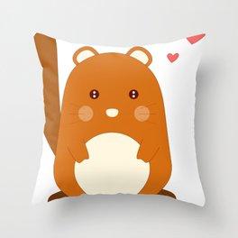 Cartoon Animal Squirrel Throw Pillow