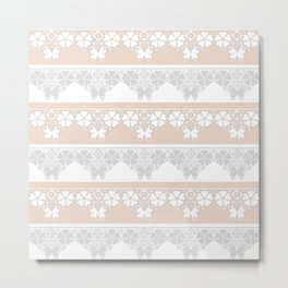 Peach-colored lace . Metal Print
