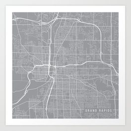 Grand Rapids Map, Michigan USA - Pewter Art Print