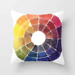 Color Wheel in Watercolor Throw Pillow