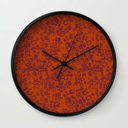 Jaguar - pattern - orange and red Wall Clock